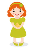 Little girl holding a chick Royalty Free Stock Image
