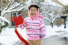 Little girl holding chinese knot running Stock Photos