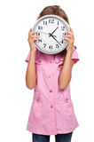 Little girl holding the clock Royalty Free Stock Photography
