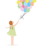 Little girl holding colorful balloons vector Royalty Free Stock Image