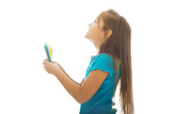 Little girl holding crayons Royalty Free Stock Photo