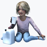 Little  girl holding cup and contatiner 5. Little girl holding a cup and container of a healthy beverage Royalty Free Stock Photos