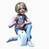 Little  girl holding cup and contatiner 4. Little girl holding a cup and container of a healthy beverage Royalty Free Stock Photos