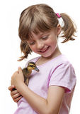 Little girl holding a cute duckling Stock Photos
