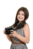 Little girl holding dslr camera Stock Images