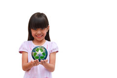 Little girl holding earth Royalty Free Stock Photos