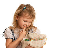 Little girl holding Easter basket Stock Photos