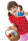 Little girl holding easter eggs Stock Photography