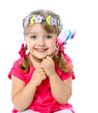 Little girl holding Easter eggs, holiday, Easter Stock Photography