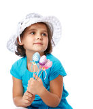 Little girl holding Easter eggs, holiday, Easter Royalty Free Stock Image