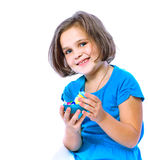 Little girl holding Easter eggs, holiday, Easter Stock Photos