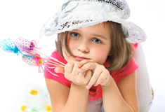 Little girl holding Easter eggs, holiday, Easter Royalty Free Stock Photography