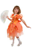 Little Girl holding fan. Royalty Free Stock Images