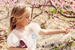 Little Girl Holding Flower Stock Photo