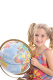 Little girl holding globe vertical Royalty Free Stock Images