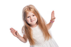 Little Girl Holding Hands Up. Royalty Free Stock Images