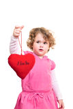 Little girl holding  heart Royalty Free Stock Images