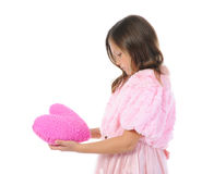 Little girl holding heart Stock Photos