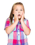 Little girl is holding her face in astonishment Stock Photography