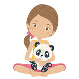 Little girl holding her panda toy. Stock Image