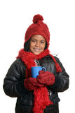 Little girl holding hot chocolate drink Stock Photo