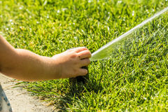 Little girl holding during irrigation, spray. On the grass Royalty Free Stock Image