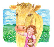 Little girl holding jar of milk and cute cow against the grassland Stock Images