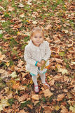 Little girl holding leaf in hand Royalty Free Stock Photo