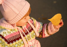 Little girl holding a leaf. Little girl in hat holding a yellow leaf and looking at it Royalty Free Stock Photo