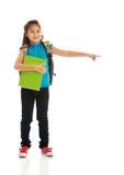 Little girl holding notebooks Stock Images