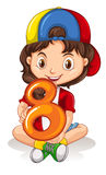 Little girl holding number eight Royalty Free Stock Photo