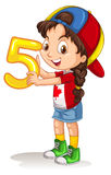 Little girl holding number five Stock Image