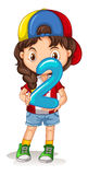 Little girl holding number two Royalty Free Stock Photos