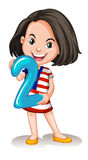 Little girl holding number two Royalty Free Stock Image