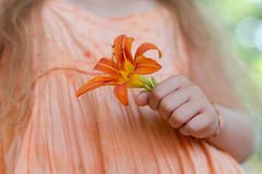 Little girl holding orange lilly flower Stock Photography