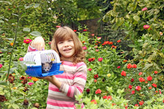 Little girl holding pet box Stock Photography
