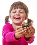 Little girl holding a pet turtle Royalty Free Stock Images