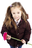 Little girl holding pink flower with winter jacket Royalty Free Stock Images