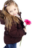 Little girl holding pink flower with winter jacket Stock Photos