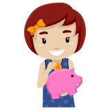 Little girl holding Pink Piggy Bank Stock Images