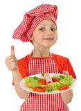 Little girl holding plate with ham Royalty Free Stock Photo