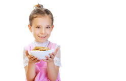 Free Little Girl Holding Plate Of Meat Stock Photography - 24102192