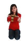 Little girl holding present Stock Photos