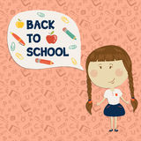 Little girl holding say back to school. Back to school. Little girl holding say back to school. Vector illustration. Seamless pattern on background Stock Photo