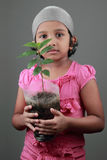 Little girl holding a seedling Royalty Free Stock Images