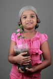Little girl holding a seedling Stock Photos