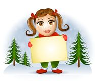 Little Girl Holding Sign Royalty Free Stock Images
