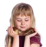 Little girl holding snails in hands Royalty Free Stock Photos
