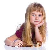 Little girl holding snails in hands Stock Image