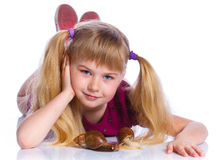 Little girl holding snails in hands Stock Photography